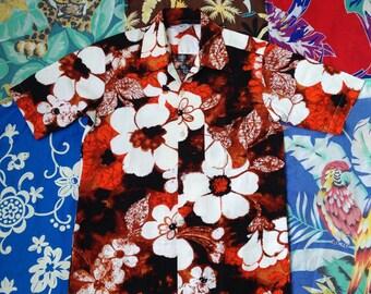 "Cotton bark cloth ""Midnight floral"" vintage hawaiian shirt, 1960's."