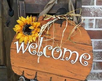 """Rustic Pumpkin Doorboards """"Welcome"""""""