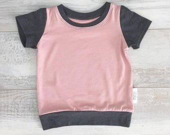 Plain T-shirt, Charcoal and bamboo for babies and children, old rose