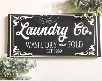 Laundry Sign // Laundry Co Sign // Laundry room decor // laundry room sign // farmhouse decor // laundry decor // fixerupper sign