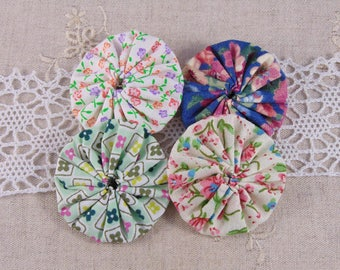 x 4 fabric flowers yoyos multicolor ref23