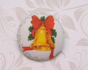 1 fabric button x 38mm ref A31 Christmas Bell