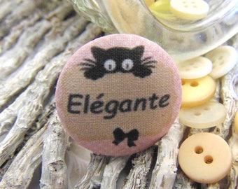 1 button x 22mm ti fabric ' elegant cat BOUT4