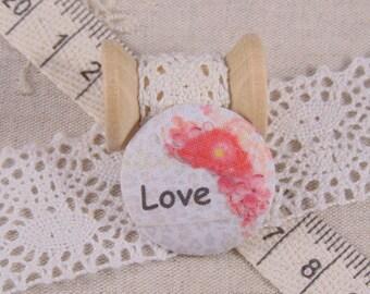 x 1 22mm fabric button love ref A17