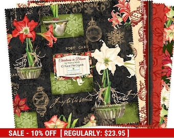 "SALE** Christmas in Bloom - (24) 10"" Squares - Wilmington Prints - 10 Karat Mini Crystals"