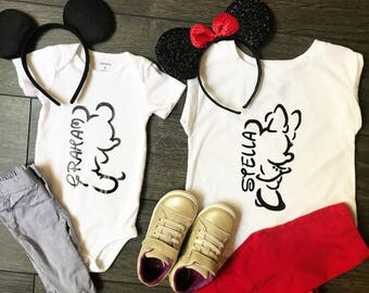 Personalized Mickey and Minnie Outline Disney Shirt