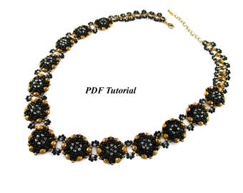 "Necklace Pattern, PDF Tutorial, DIY Necklace, Beaded Necklace, Seed Beads Pattern, Beadwoven Necklace, Jewelry Tutorial, ""Kaya Necklace"""