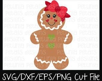 Gingerbread Girl SVG Cut File Christmas Cut File Gingerbread SVG Cookie Design Cricut Silhouette Design Petunia Petals Designs 11176
