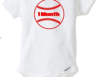 Baby Monthly Onesies, Baby Shower, Birth, Baby Baseball ball Onesies