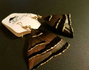 wild Turkey feathers wild Turkey feather earrings handmade feather jewelry with gold glitter lining. NWT