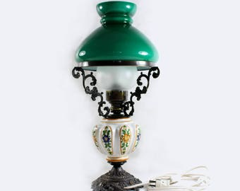 Vintage Electric Table Lamp from the 50s Used. Glass lampshade Green handmade ceramic porcelain