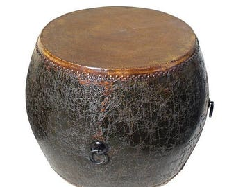 Sales Distressed Black Lacquer Oriental Chinese Drum Table cs2768S