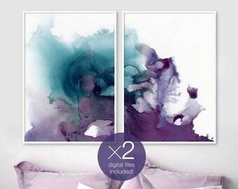 Set of 2 Digital Prints, Indigo Abstract Art, Ultra Violet Watercolor, Blue Poster, Diptych Wall Art, Modern Minimalist, Living Room Decor