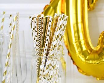 Gold Foil Paper Straws • Bridal Shower Decor • Baby Shower Decor • Bachelorette Party • Wedding Decor • Birthday Decor • Pack of 25