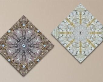 Crown Chakra mandala set of 2 canvas prints ~ Spiritual Healing ~ Meditation wall art ~ Sacred Geometry ~ Crystal Clusters ~ Australia