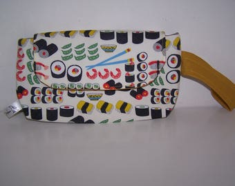 Quirky sushi and chopstick print wristlet clutch bag.  Funky sushi bag, gift for her, birthday gift, gift for her, satchel, friend gift