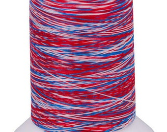 Textured thread WOOLLY NYLON, , mini-king special overlocker 1 000m / Multicolor VA105 Blue-white-red