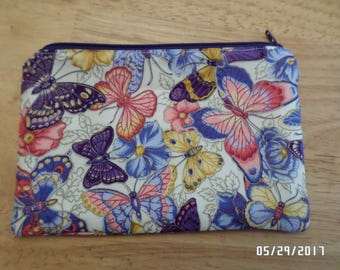 """Padded Zippered Notions/Cosmetic Pouch - 5"""" x 7.5"""" - Colorful Butterflies Outlined In Metallic Gold"""