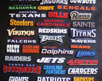 All NFL Names of Teams Patches Sew-On Iron-On Logo Craft Appliques Cotton
