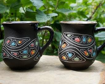 Christmas|gift Coffee|cup|Couples|mugs|Ceramic pottery mugs Stones Art Holiday mug Teacups Decorative mug Hot cocoa Mug for him Family mugs