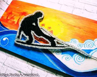 String Art Wakeboard String Art Summer Wakeboarding Sign Sport Wall Art Custom Wakeboard Art Sport Gifts Custom Signs Unique Gift Wall Decor
