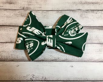 New York Jets Inspired Football Headwrap, Baby Headband, Toddler Bows Headwrap, Big Bow, Baby Girl Headwrap, Headband, Infant, Tied