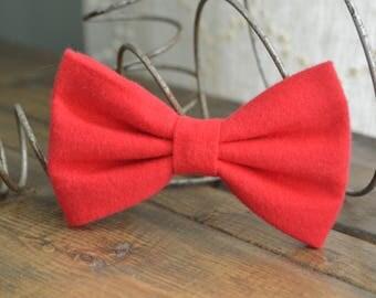 Soft Red Fleece Hair Bow