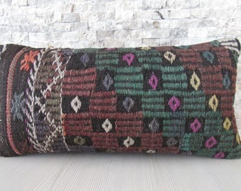 decorative kilim pillow cover 12x24 kilim cushion anatolian organic pillow euro sham pillow bohemian handwoven pillow 12x24  ethnic pillow