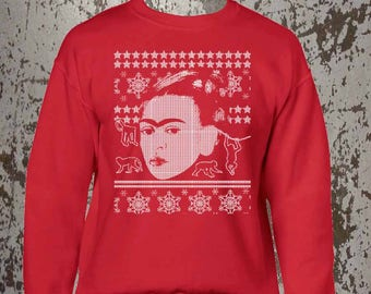 Frida Kahlo, XMass Sweater, Merry Christmas, Ugly Christmas Sweater, Holiday Apparel