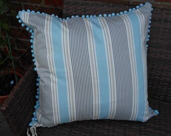 Striped cushion cover with pompom detail - large 25in x 25in