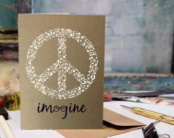 Imagine Card, John Lennon, Beatles, Birthday, Love, Anniversary Screen Printed by Hand.