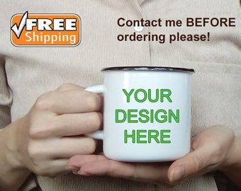 Enamel Mug Logo/Print White Enamel Camping Mug Metal Tin Cup Custom Enamelware Custom Enamel Mug Coffee Cup Personalized Enameled Steel Mug