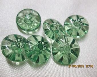 Green set of 6 transparent buttons