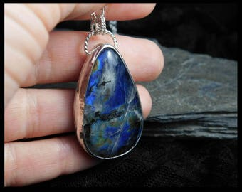 Canadian Labradorite pendant, sterling silver chain necklace. Statement jewelry. Handmade. 035
