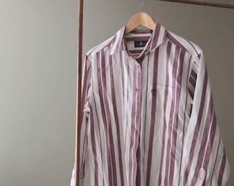 Vintage Stripe Button-up Blouse