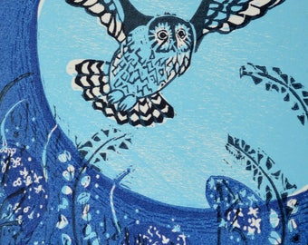 Owl and Moon Woodcut print based on Welsh legend 'Blodeuwedd'