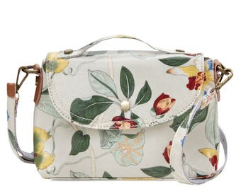Oilcloth Crossbody bag - Ladies Zip purse - Orchid floral print - Ladies handbag - Oil cloth women satchel- Teen girl - Laminated cotton