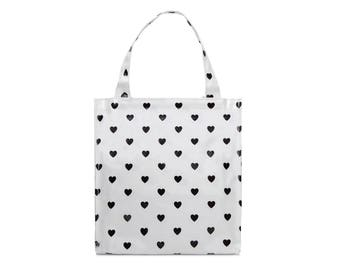 Oilcloth lunch bag for women - Small Reusable bag - Oil cloth lunch bag for kids- Ladies toiletry bag- small bag- Waterproof heart polka dot