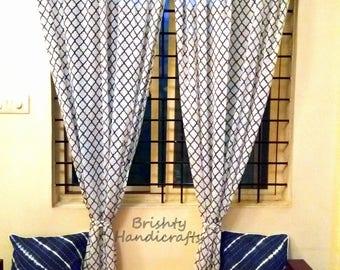 SET OF TWO block printed curtains, Bohemian curtains, Boho decor, Beach curtains, Blue and white curtains, curtains, indigo curtain, drape