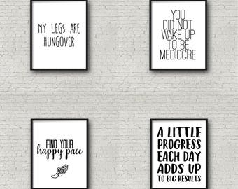 Motivational Quote Print Pack, Inspirational Wall Art, Running Quotes, Fitness Motivation, Motivational Poster, Typography Quote, Running