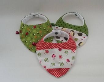 Set of 3 bandana bibs / reversible / baby gifts / set