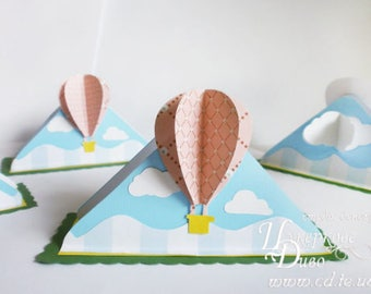 Paper Napkin Holder baby 3D hot air balloon-Unique author's design-sweet table decor baby shower