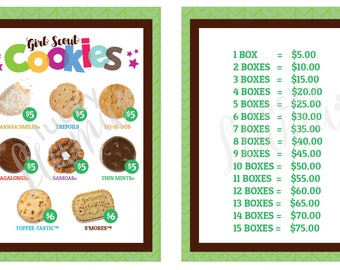 2018 Girl Scout Cookie lanyard - Printable- GREEN- Version with and without Toffee Tastics