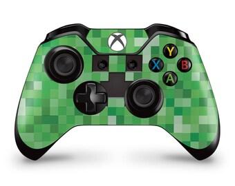 Xbox One Controller Skin - Pixel Face Creeper 8-bit pixel fan art custom sticker skin