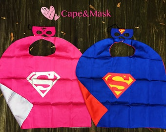 Superman cape and mask, Supergirl cape and mask,Superman Birthday, Superman Party, Superman Party Favors,Superman Costume,Superhero Costume