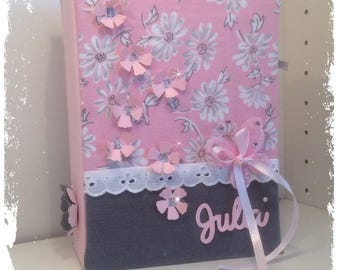 """""""Flowers"""" baptism guestbook taupe and pink powder multipochettes a5"""