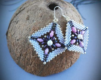 Handmade superDuo earrings, seed bead earrings, beaded earrings