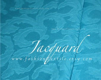 Turquoise Jacquard Woven Fabric by metre/ yard