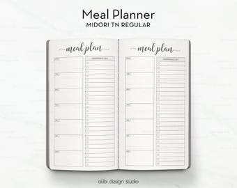 Standard TN, Meal Planner, Meal Planning, Weekly Meal Planner, Midori Inserts, Travelers Notebook, Meal Tracker, Bullet Journal