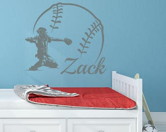Baseball Name Wall Decal Boy Custom Personalized Boys Decor Catcher Vinyl Teens